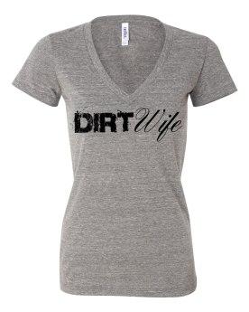 Gray Dirt Wife Deep V T - $25